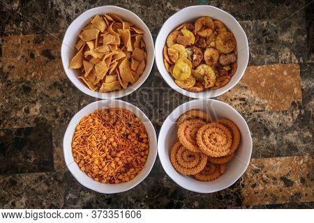Some Indian Snacks, Murukku, Mixture, Banana Fry, Pakkavada