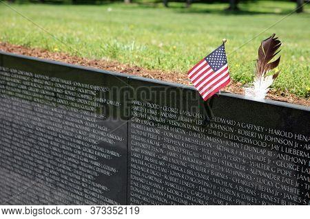 Washington Dc, Usa - May 02, 2019: Names Of Vietnam War Casualties On Vietnam Veterans Memorial In W