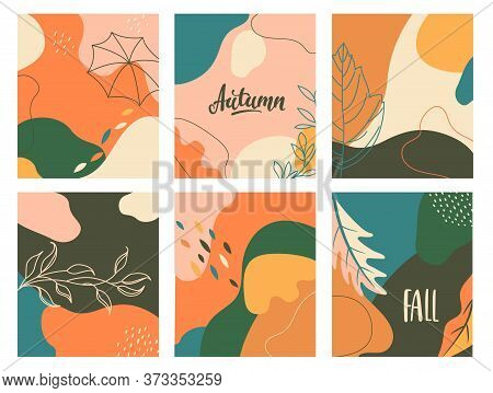 Set Of Autumn Abstract Fluid Backgrounds With Geometric Shapes. Template Design For Flyer, New Seaso