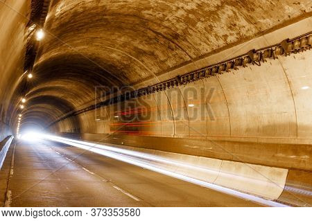 Car Light Trails In Presidio Tunnel, Hwy 1 And Us 101, San Francisco, California, Usa.