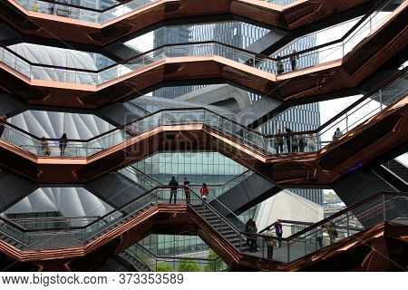 New York City, Usa - May 03, 2019: The Vessel, Also Known As The Hudson Yards Staircase Designed By