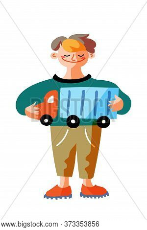 Happy Smiling Little Boy Standing With New Toy Truck Or Lorry. Cute Funny Child Cartoon Character Is