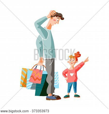 Puzzled Father With Paper Bags And Cute Little Daughter Pointing Aside. Family Shopping, Choosing Gi