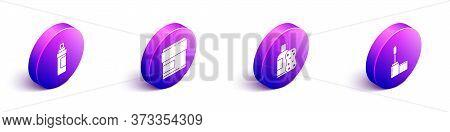 Set Isometric Perfume, Cream Or Lotion Cosmetic Tube, Bottle Of Shampoo And Sponge And Mascara Brush