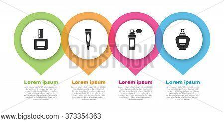 Set Nail Polish Bottle, Cream Or Lotion Cosmetic Tube, Perfume And Perfume. Business Infographic Tem