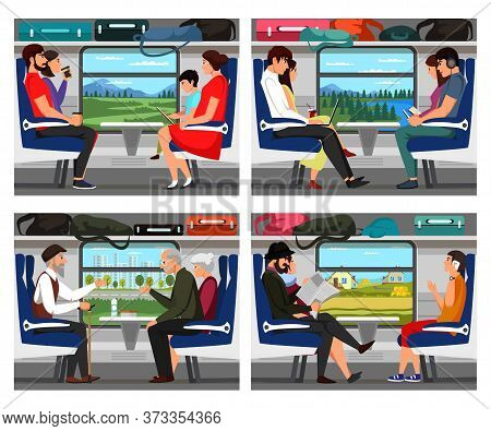 People Train Passengers. Cartoon Characters Chatting, Talking. Adults, Retired Person And Children T
