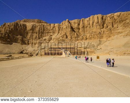 Luxor, Egypt - November 3, 2019: View Of The Mortuary Temple Of Hatshepsut.