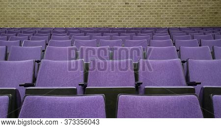 Empty Rows Of Seats In Auditorium Or Concert Hall.close Up,selective Focus.concept Of Quarantine,cur