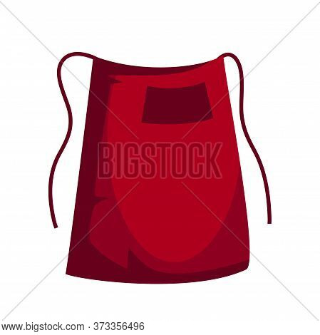 Cartoon Clean Red Waiter Apron Isolated On White. Protective Cloth Uniform For Cooking, Guests Servi