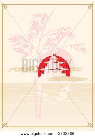 Japanese Pagoda, Bamboo And Sun