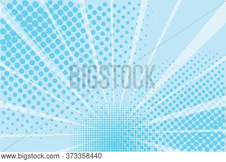 Blue And White Background Of The Book In Comic Style Pop Art Superhero. Lightning Blast Halftone Dot