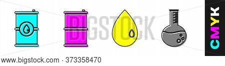 Set Barrel Oil, Barrel Oil, Oil Drop And Oil Petrol Test Tube Icon. Vector