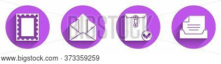 Set Postal Stamp, Outgoing Mail, Envelope And Check Mark And Drawer With Document Icon With Long Sha