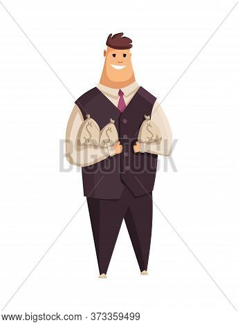 Vector Cartoon Rich People. Happy Super Rich Successful Businessman With Huge Green Money Bills Pile