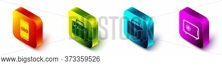 Set Isometric Mobile Phone Seo Optimization, Briefcase, Briefcase And Safe Icon. Vector