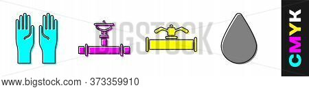 Set Rubber Gloves, Industry Pipe And Valve, Industry Pipe And Valve And Water Drop Icon. Vector