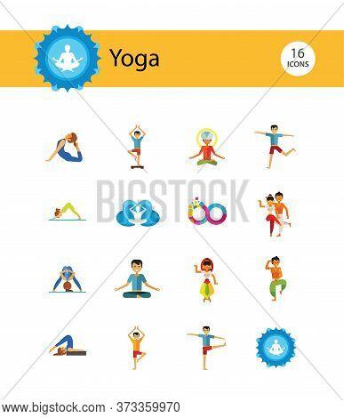 Yoga Icon Set. Infinity Meditation Handstand Virabhadrasana Lotus Position Yoga Sign Man Meditating