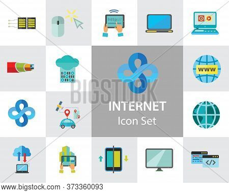 Internet Icon Set. Web Camera Mouse Synchronization Data Flow Hyperlink Internet Sign Tablet Interne