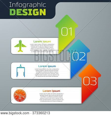 Set Plane, Metal Detector In Airport And Compass. Business Infographic Template. Vector