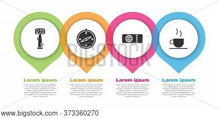 Set Aircraft Steering Helm, Compass, Airline Ticket And Coffee Cup. Business Infographic Template. V