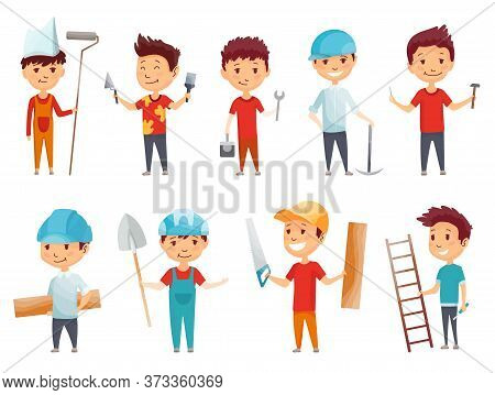 Kids Builders. Little Boys In Builder Work Suit, Children In Construction Helmet And Engineering Cos