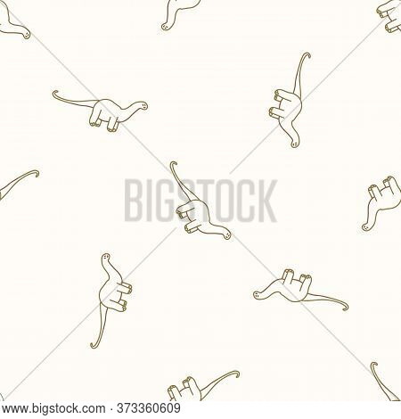 Seamless Background Simple Apatosaurus Dinosaur Gender Neutral Pattern. Whimsical Minimal Earthy 2 T
