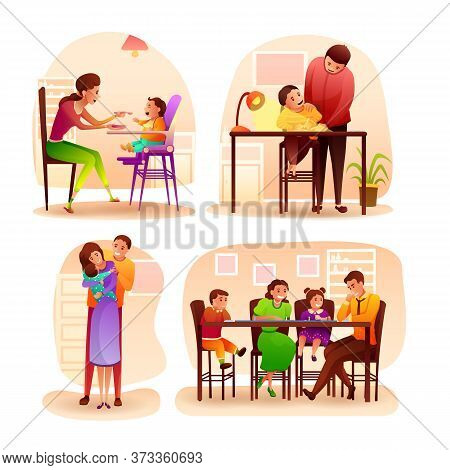 Happy Family Spend Time At Home Scene Flat Set. Mother Feeding Baby. Husband Hugging Wife With Infan