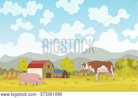 Eco Farming. Meadow Illustration Eco Natural Farming Concept. Ecological Green Farming. Cartoon Vect