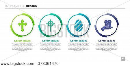 Set Christian Cross, Christian Cross, Easter Egg And Human Hand And Easter Cake. Business Infographi