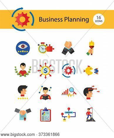 Business Planning Icon Set. Report Budget Commitment Achievement Self Esteem Solution Star Employee
