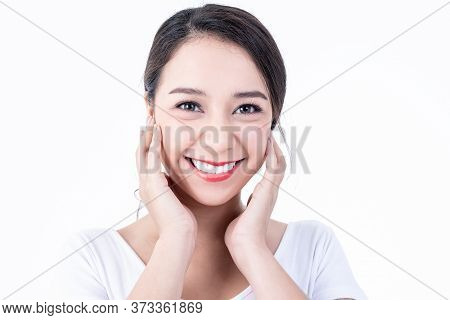 Portrait Images Of Asian Young, Pretty Woman Is 25 Years Old, She Is Smiling Brightly, She Has Beaut