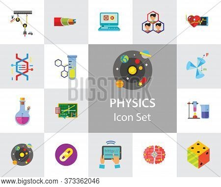 Physics Icon Set. Galaxy Radiation Sign Substance In Test Tubes Flask Genetic Engineering Logic Conc