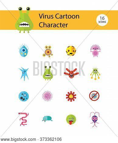 Virus Icons Set. Icons Of Influenza Virus, Coronavirus, Adenovirus And Other Bacteria