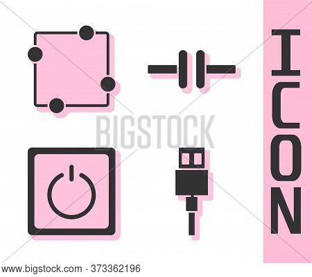Set Usb Cable Cord, Electric Circuit Scheme, Electric Light Switch And Electric Circuit Scheme Icon.