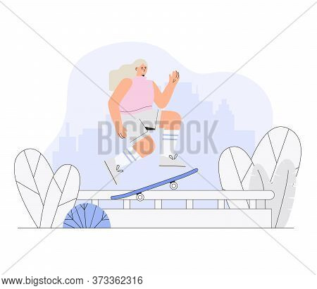 Girl Skateboarder Rides A Skateboard On The Background Of A City Park. Vector Modern Illustration In