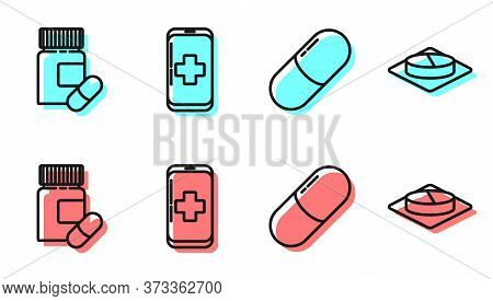 Set Line Medicine Pill Or Tablet, Medicine Bottle And Pills, Emergency Mobile Phone Call To Hospital