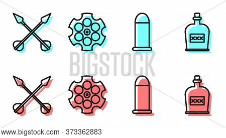 Set Line Bullet, Crossed Arrows, Revolver Cylinder And Alcohol Drink Rum Bottle Icon. Vector