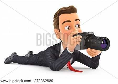 3d Businessman Lying Down With Camera, Illustration With Isolated White Background
