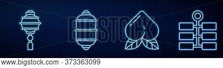 Set Line Peach Fruit, Chinese Paper Lantern, Chinese Paper Lantern, Firework And Yin Yang. Glowing N