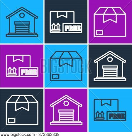 Set Line Warehouse, Carton Cardboard Box And Cardboard Box With Free Symbol Icon. Vector