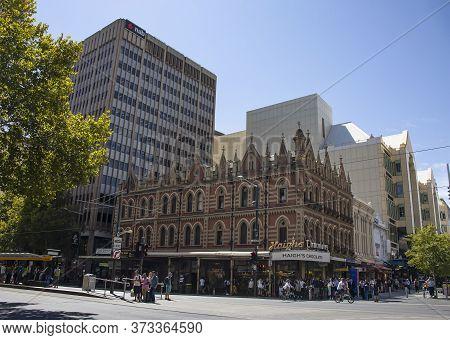 Adelaide, Australia - March 11th, 2020: A Street Corner In Adelaide, Australia, On A Clear Summer Da