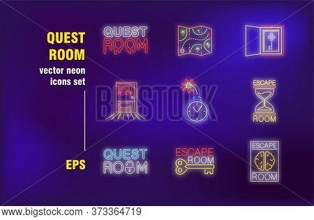 Quest Room Neon Signs Set. Entertainment, Adventure, Map, Escape, Key, Mission. Night Bright Adverti