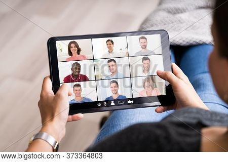 Online Video Conference Interview Meeting On Tablet