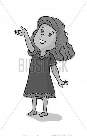 Happy Amused Smiling Cute Girl With Raised Arm Standing Isolated On White. Pretty, Funny Female Pres