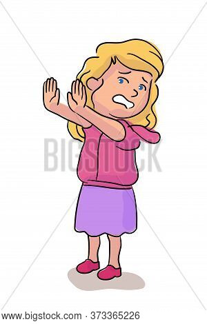 Scared Crying Girl Standing Isolated On White. Cartoon Face Emotional People Little Character. Full