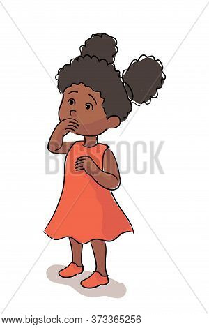 Cute Afro American Girl Covering Mouth With Hand. Surprised Black Female Little Character With Open