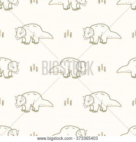 Seamless Background Triceratops Dinosaur Gender Neutral Baby Pattern. Simple Whimsical Minimal Earth