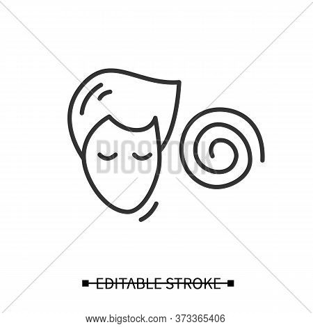 Hypnosis Icon. Absorbed Or Meditating Person With Hypnotic Helix Linear Pictogram. Concept Of Psycho