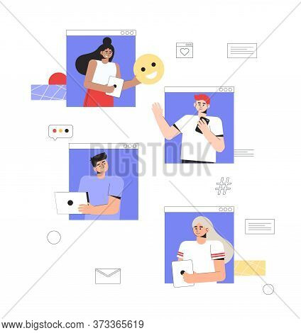 Concept Of Online Communication And Social Networks. A Group Of People Communicate With Each Other O