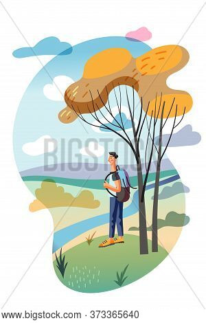 Happy Man Character With Backpack Walking In Autumn Forest Or Spring Wood Cutout Cartoon. Flat Natur